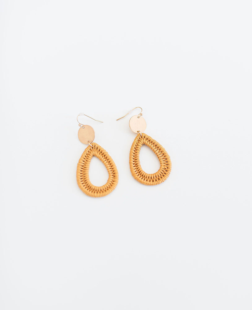 mustard woven thread drop earrings available online at vetue boutique