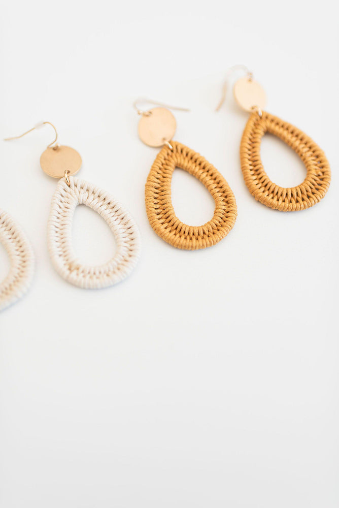 thread woven teardrop earrings available online at vetue boutique
