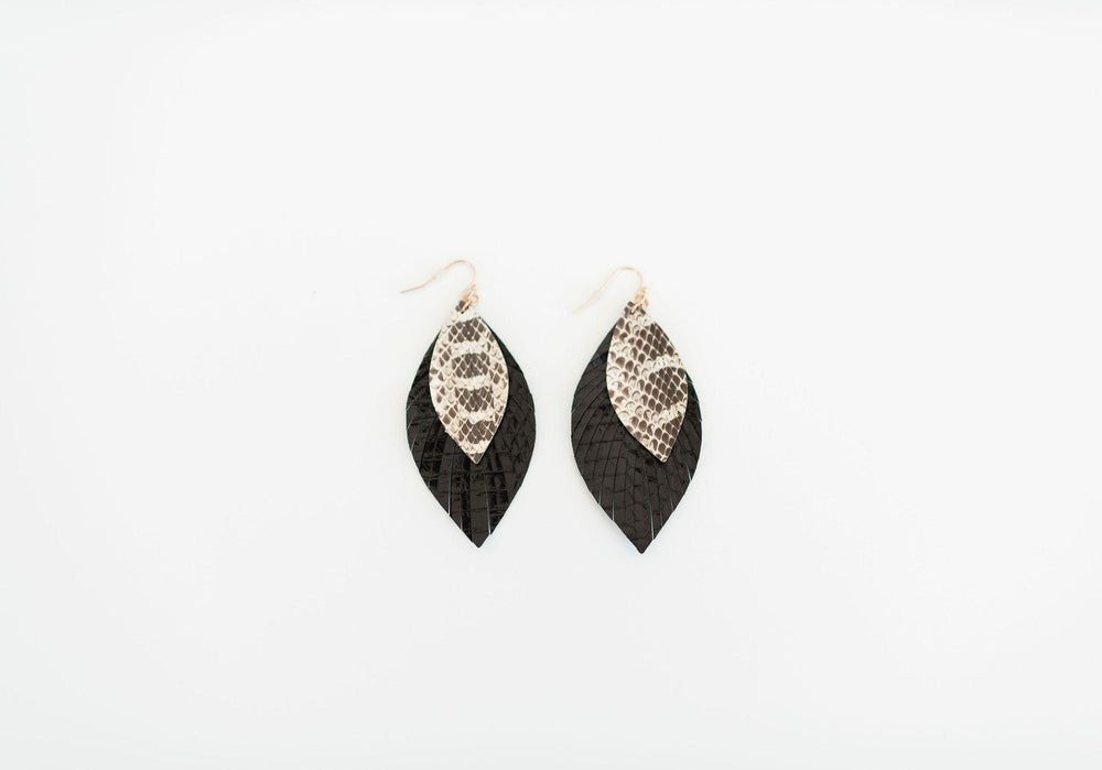 black fringe edges leather earring snake detail available online at vetue boutique