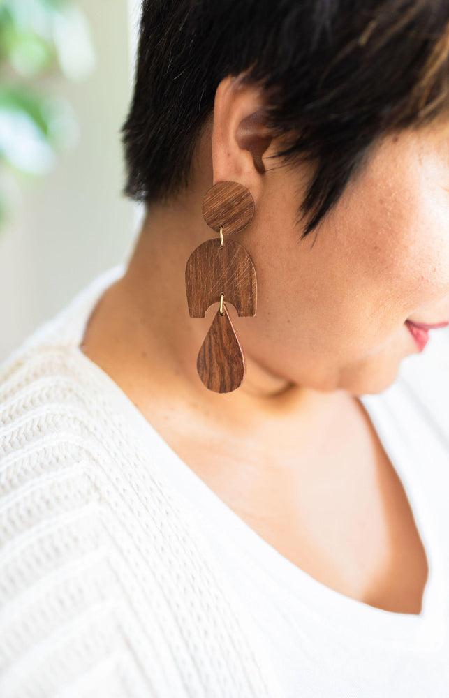 wood grain drop earrings available online at vetue boutique