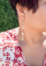 gold finish circle and chain dangle earrings available online at vetue boutique
