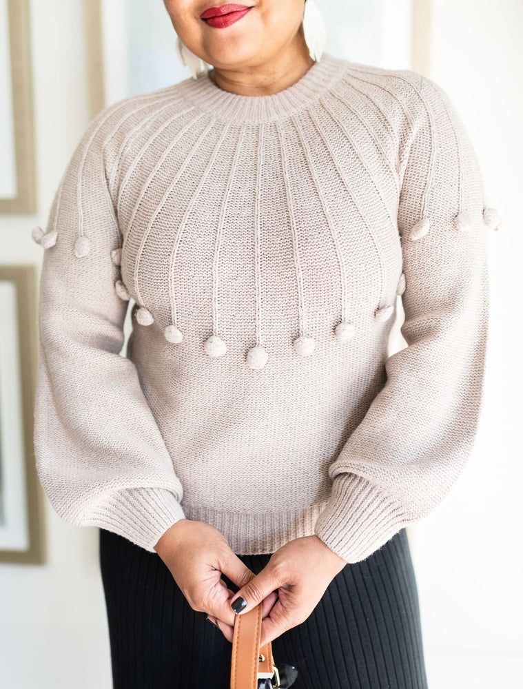 Dreamers Round Neck Knit Sweater With Front Detail Cuffed Sleeves_Vetue Boutique Tampa FL
