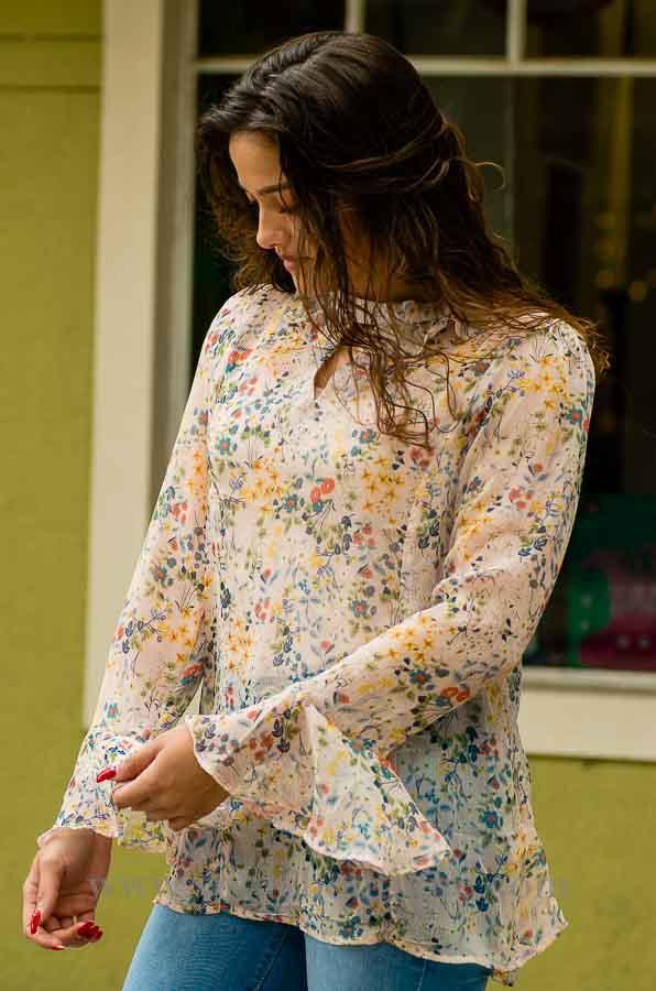 Blush long sleeve silky chiffon floral print with keyhole and mock choker top-Vêtue Boutique Lithia FL USA. Women's boutique for great quality unique, fun, trendy and stylish clothing and accessories at amazing prices.  Let us dress you!