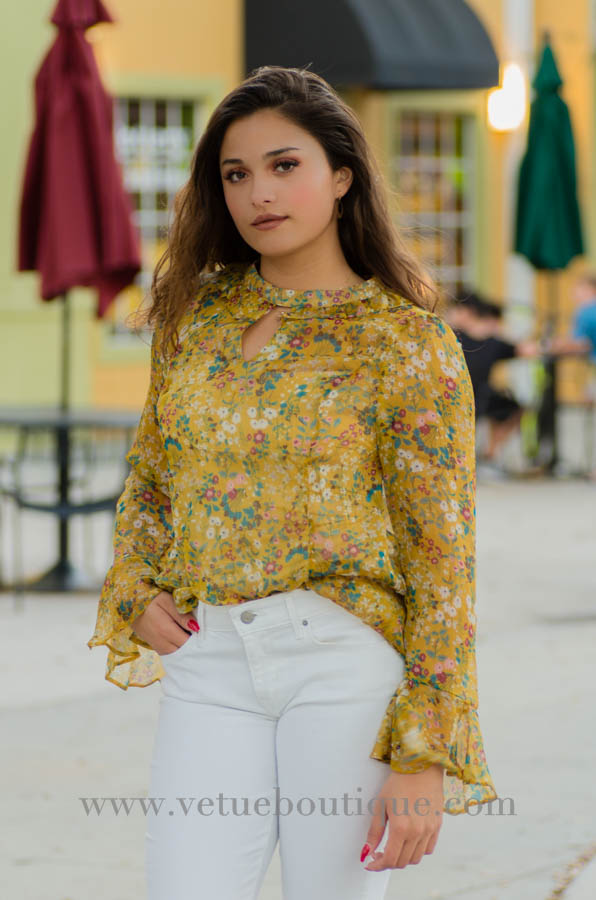 GRETCHEN mustard long sleeve silky chiffon floral print with keyhole and mock choker top