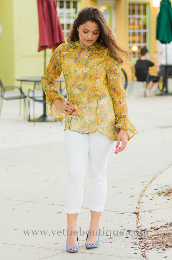 Mustard long sleeve silky chiffon floral print with keyhole and mock choker top-Vêtue Boutique Lithia FL USA. Women's boutique for great quality fun, laid back chic and stylish clothing and accessories. Let us dress you!