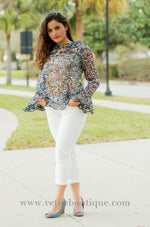 GRETCHEN navy long sleeve silky chiffon floral print with keyhole and mock choker top