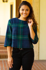 FINLEY green and blue 3/4 sleeves plaid top
