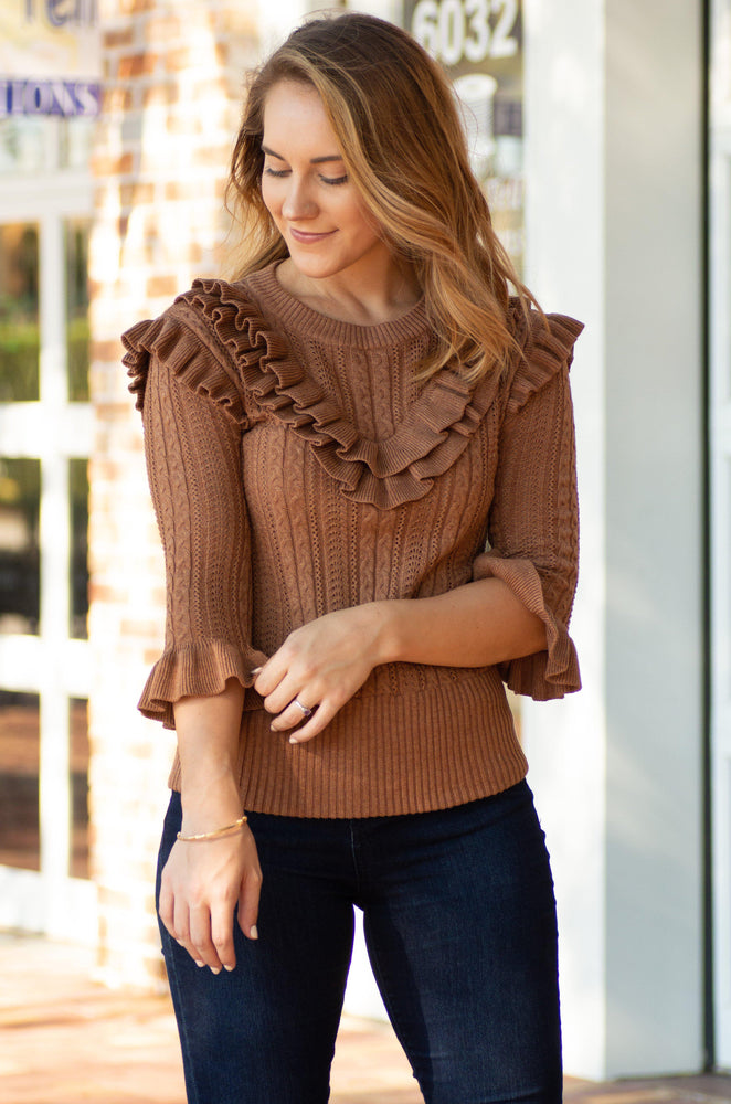 knit top with layer ruffles on shoulder and ruffled sleeves-Vetue Boutique FL USA online boutique -Women's boutique for great quality fun, trendy, unique, stylish clothing and accessories at amazing prices-boutique tampa fl-boutique valrico fl-boutique brandon fl-boutique riverview fl
