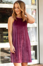 ELIA dark mauve sleeveless halter neck velvet dress
