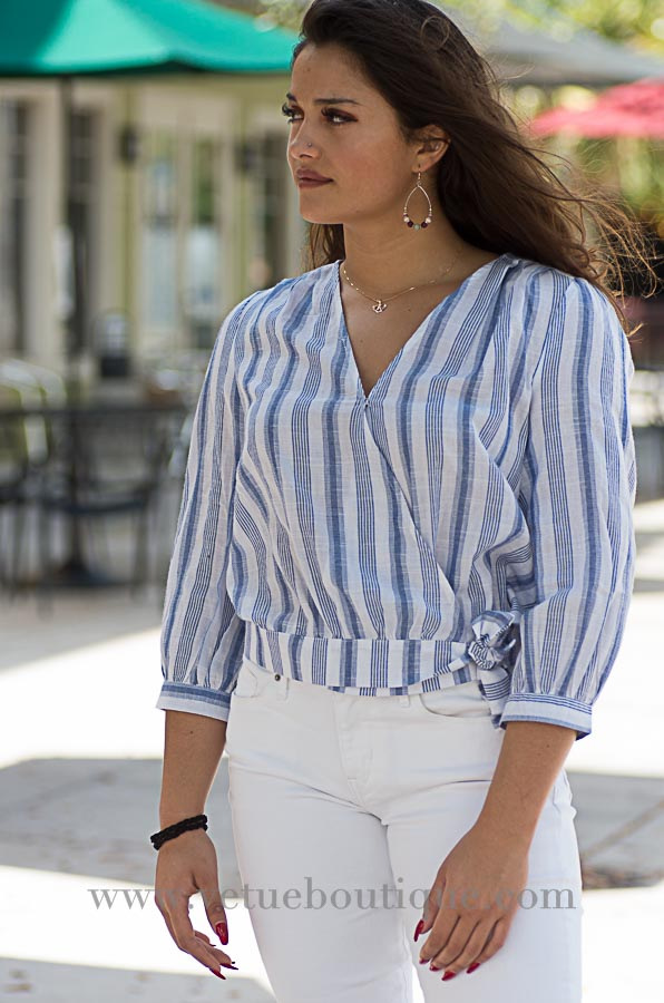 Stripe wrap top-Vêtue Boutique Lithia FL USA. Women's boutique for great quality fun, laid back chic and stylish clothing and accessories. Let us dress you!