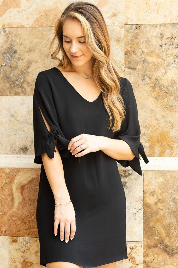THANDIE Black shift dress with sleeve detail