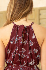 sleeveless floral halter neck maxi dress with waist tie-Vetue Boutique FL USA online boutique -Women's boutique for great quality fun, trendy, unique, stylish clothing and accessories at amazing prices