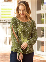 DYLAN long sleeve polka dot blouse with split shoulder and sleeve detail