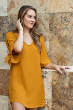 THANDIE Mustard shift dress with sleeve detail