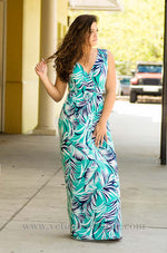 JADE Sleeveless tropical print maxi dress with cross back and stretch waist