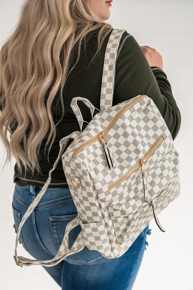 White Checkerd Backpack_Vetue Boutique Tampa FL