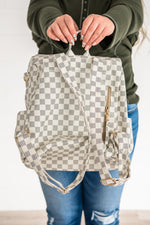 Backpack White Checkered Pattern_Vetue Boutique Tampa FL