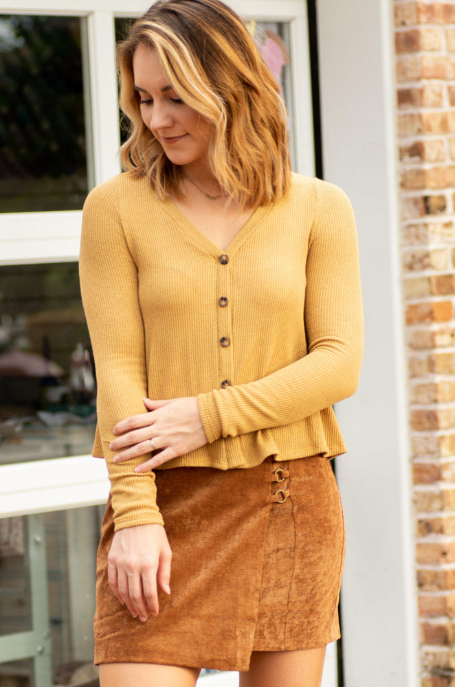ELLIS mustard long sleeve front button ribbed top