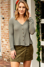 ELLIS olive long sleeve front button ribbed top