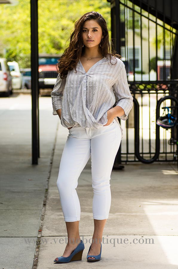 High low buttoned down gathered top-Vêtue Boutique Lithia FL USA.  Women's boutique for great quality fun, laid back chic and stylish clothing and accessories. Let us dress you!