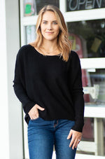 POLLY soft long sleeve high low knit top