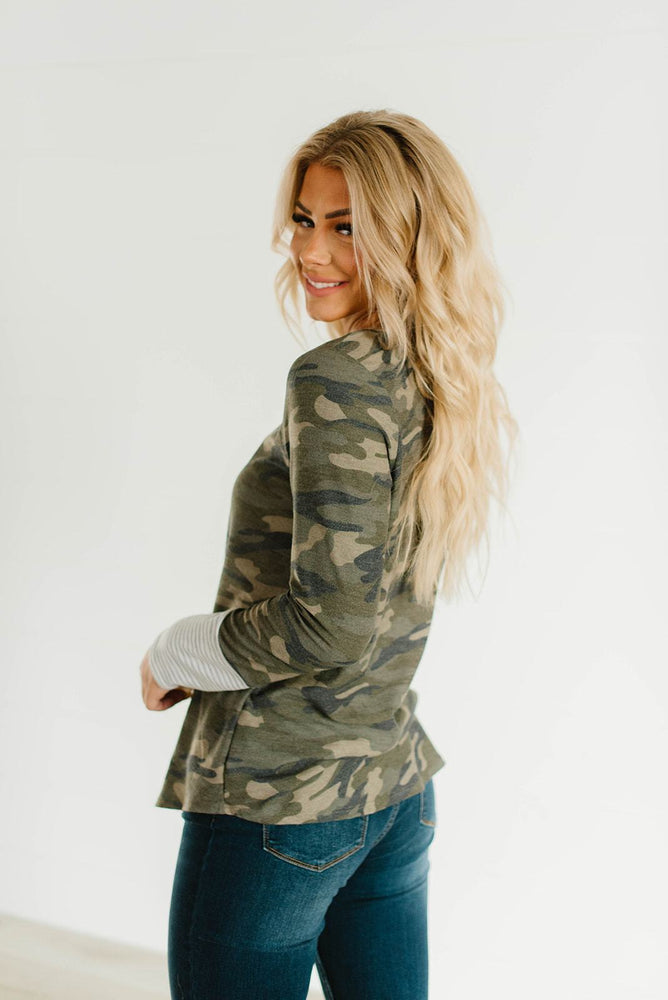 Camo Crisscross V-Neck Top_Vetue Boutique Tampa FL