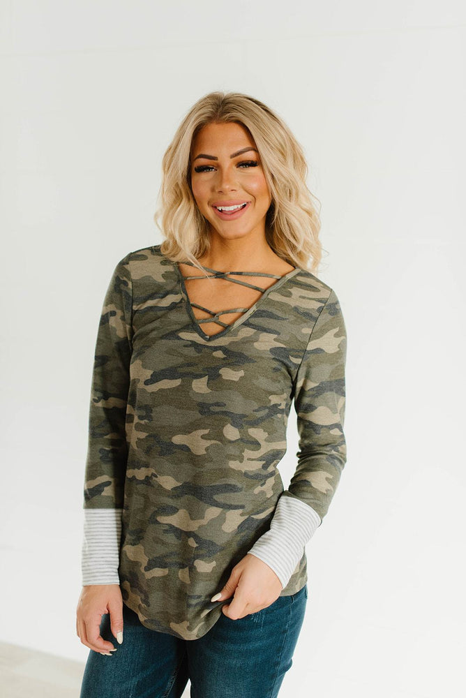 Camo Crisscross Top_Vetue Boutique Tampa FL