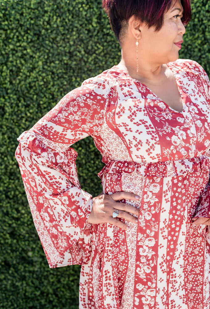 Loveriche Wine Floral Babydoll Dress With Bell Sleeves_Vetue Boutique Tampa FL