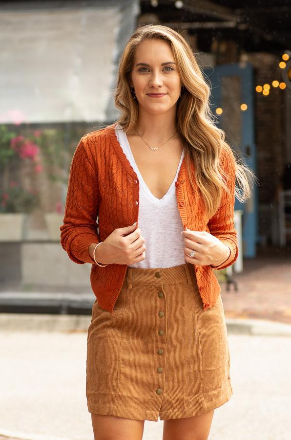 rust long sleeve button up cardigan-Vetue Boutique FL USA online boutique -Women's boutique for great quality fun, trendy, unique, stylish clothing and accessories at amazing prices-tampa fl boutique-brandon fl boutique-valrico boutique-riverview boutique