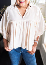 Millibon Cream Natural Stripe Flowy Sleeves V-Neck Top_Vetue Boutique Tampa FL