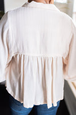 Millibon Cream Natural Stripe V-Neck Flowy Top_Vetue Boutique Tampa FL