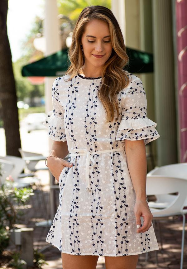 tiered ruffle short sleeve embroidered dress with waist tie and pockets-Vetue Boutique FL USA online boutique -Women's boutique for great quality fun, trendy, unique, stylish clothing and accessories at amazing prices