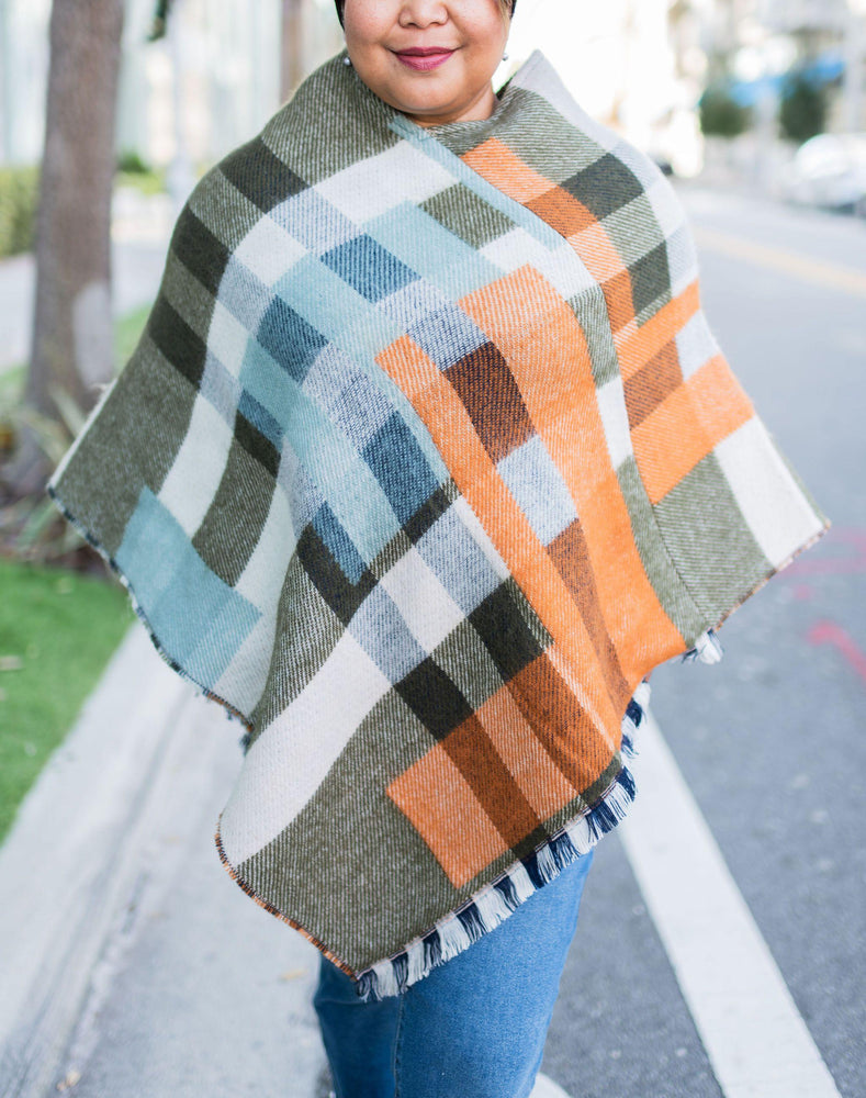 Cute and cozy mustard mix plaid ruana_Vetue Boutique Tampa FL