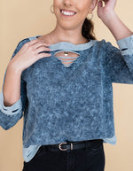 Vintage Denim Distressed French Terry Pullover_Vetue Boutique Tampa FL
