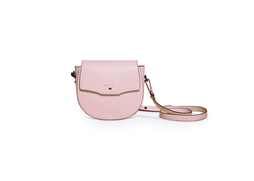 vegan leather blush saddle crossbody bag available online at vetue boutique