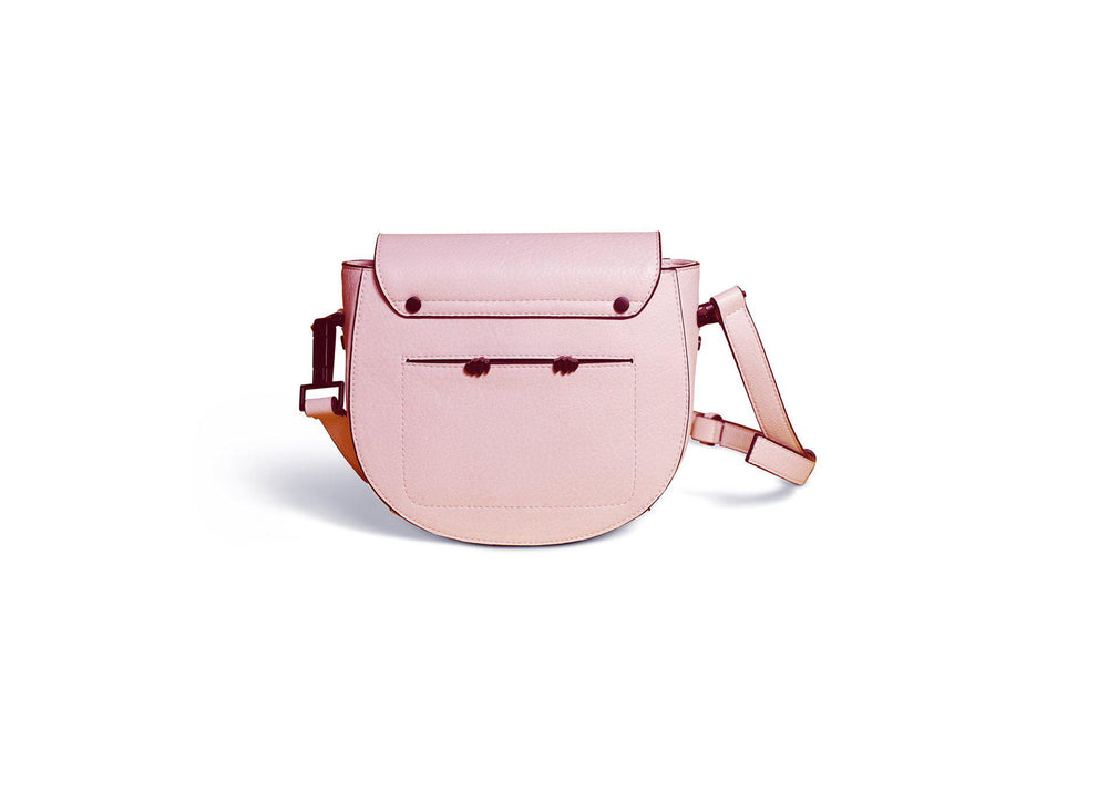 blush vegan leather saddle bag available online at vetue boutique