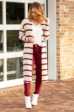 ASTER stripe long open cardigan with side slit