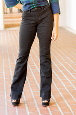 SANDRA black mid rise boot cut jeans