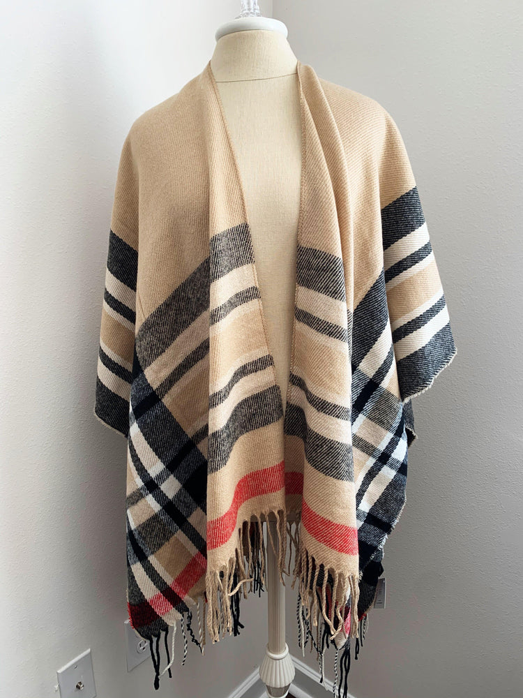 beige plaid ruana poncho vetue Boutique tampa saint Petersburg florida online clothing accessories casual stylish contemporary fashion store