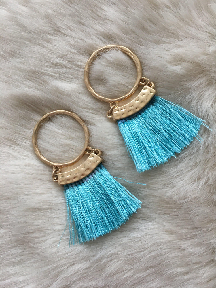 hoop earrings with fringe tassel-Vetue Boutique FL USA based online boutique -Women's boutique for great quality unique, fun, trendy and stylish clothing and accessories at amazing prices