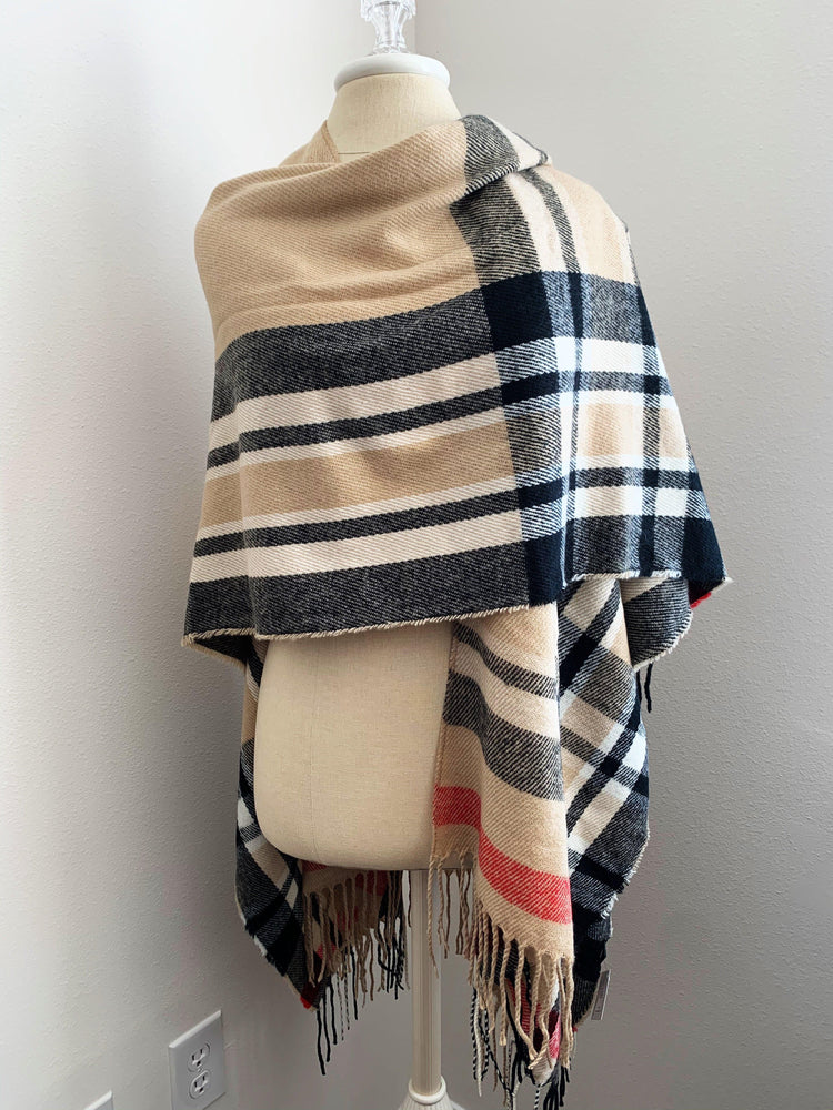 wrapped plaid ruana poncho vetue Boutique tampa saint Petersburg florida online clothing accessories casual stylish contemporary fashion store