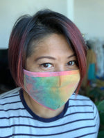 french terry fashion face mask in tie dye green print available online at vetue boutique