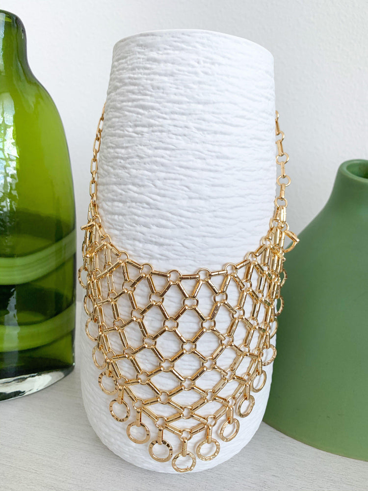 gold chain mail statement necklace available online at vetue boutique