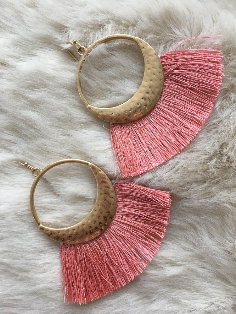 silver Dollar size hoop with tassel fan shaped earrings-Vetue Boutique FL USA based online boutique -Women's boutique for great quality unique, fun, trendy and stylish clothing and accessories at amazing prices