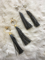 HERA long tassel statement earrings with hoop detail and small quartz