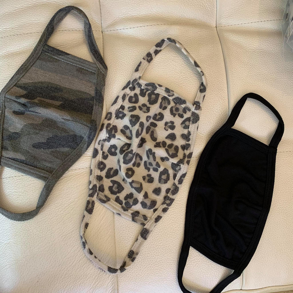 french terry fashion face masks in camouflage leopard and black available online at vetue boutique