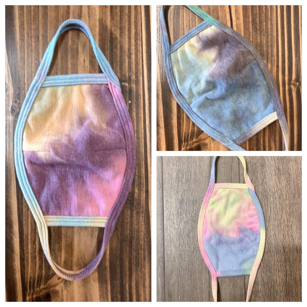 french terry fashion face masks in tie dye prints available online at vetue boutique