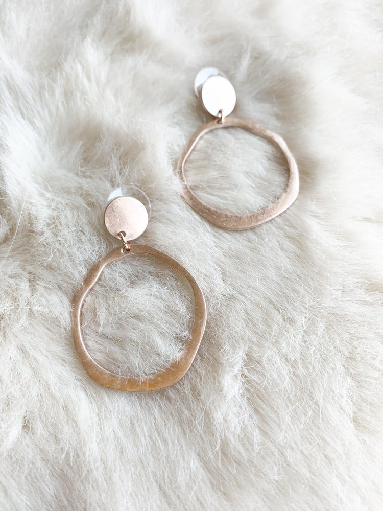 Brushed Gold Finish Hoop Earrings