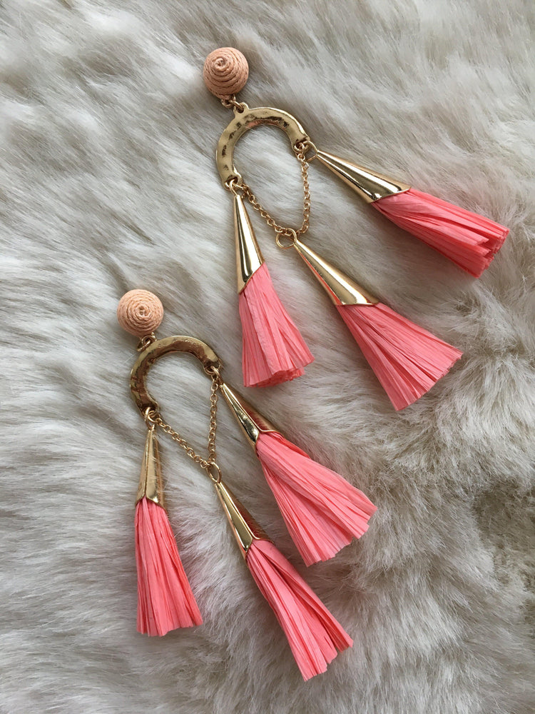 coral raffia tassel chandelier earrings-Vetue Boutique FL USA based online boutique -Women's boutique for great quality unique, fun, trendy and stylish clothing and accessories at amazing prices