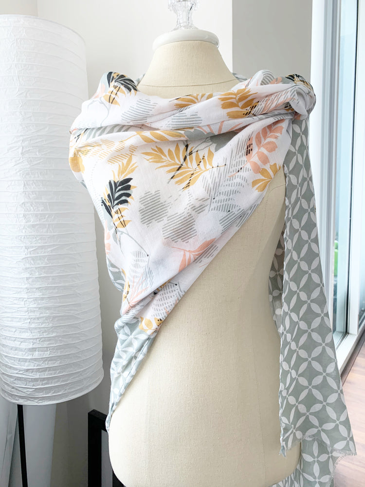grey floral side of contrast scarf available online at vetue boutique